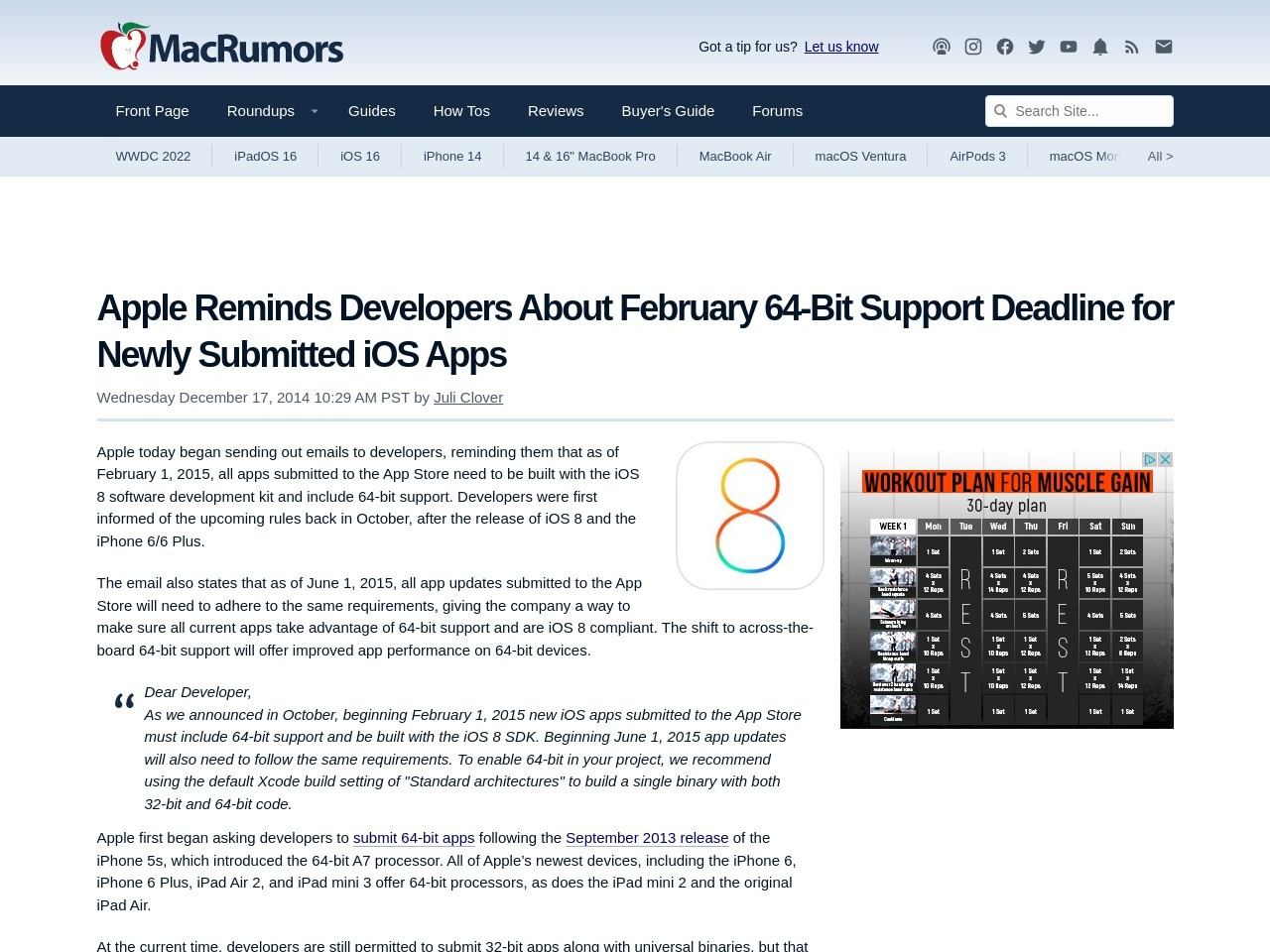Apple Reminds Developers About February 64-Bit Support …