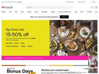 Capture d'écran pour macys.com