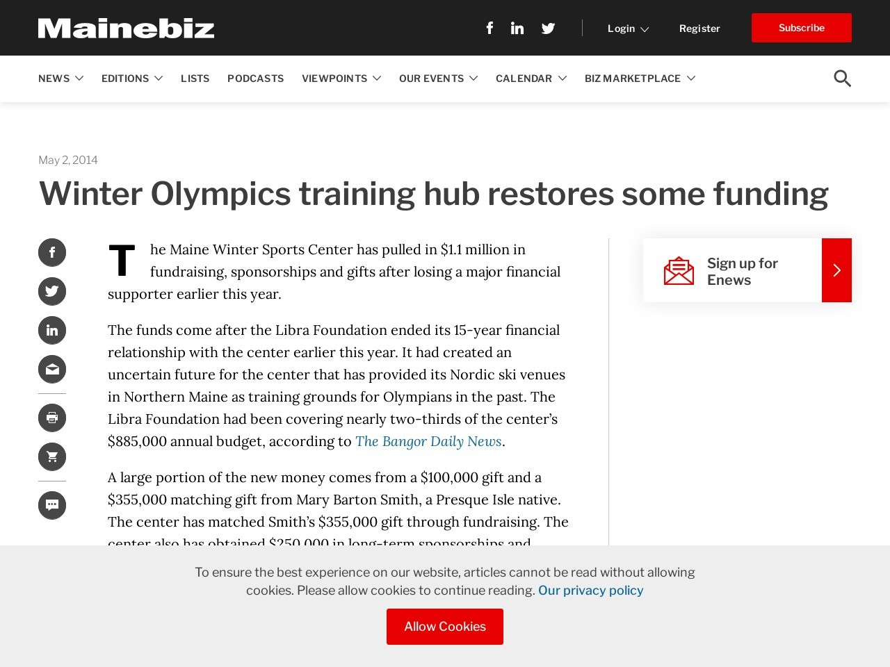 Winter Olympics training hub restores some funding