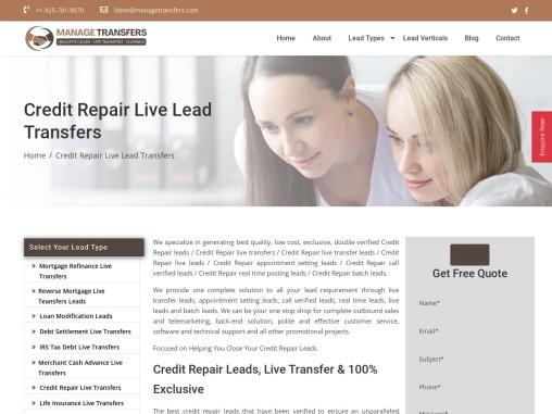 Credit Repair Live Transfers Leads