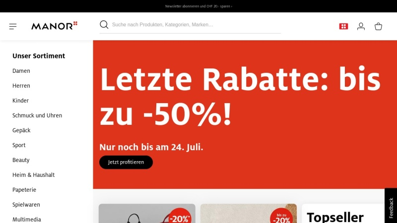 www.manor.ch Vorschau, Manor AG
