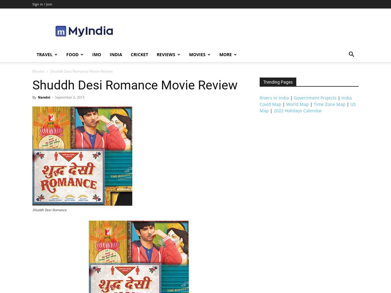 Shuddh Desi Romance: Movie Review – Maps of India