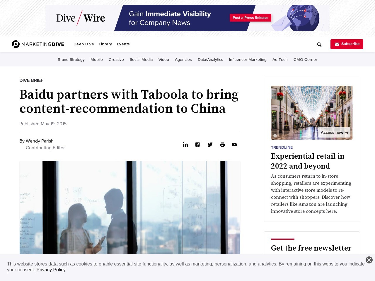 Baidu partners with Taboola to bring content-recommendation to China