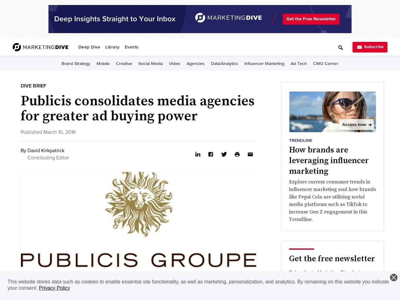 Publicis consolidates media agencies for greater ad buying power