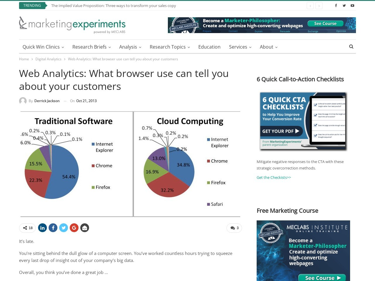 Web Analytics: What browser use can tell you about your customers …