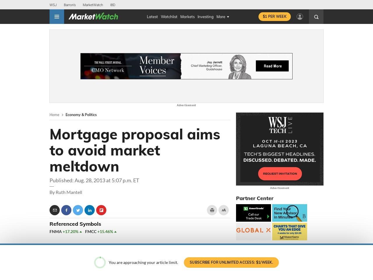 Mortgage proposal aims to avoid market meltdown