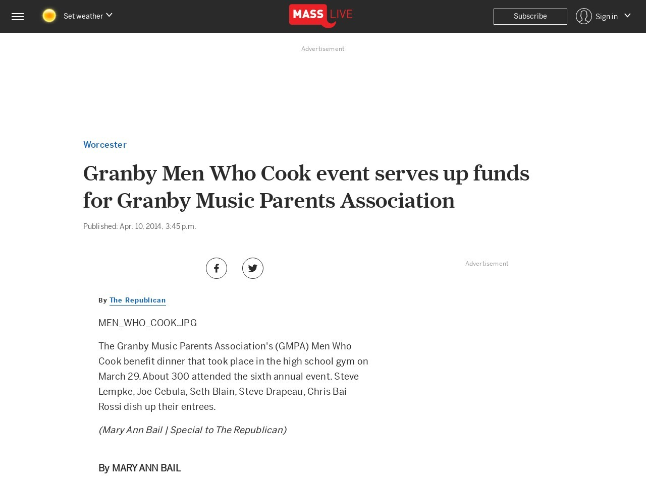 Granby Men Who Cook event serves up funds for Granby Music Parents …