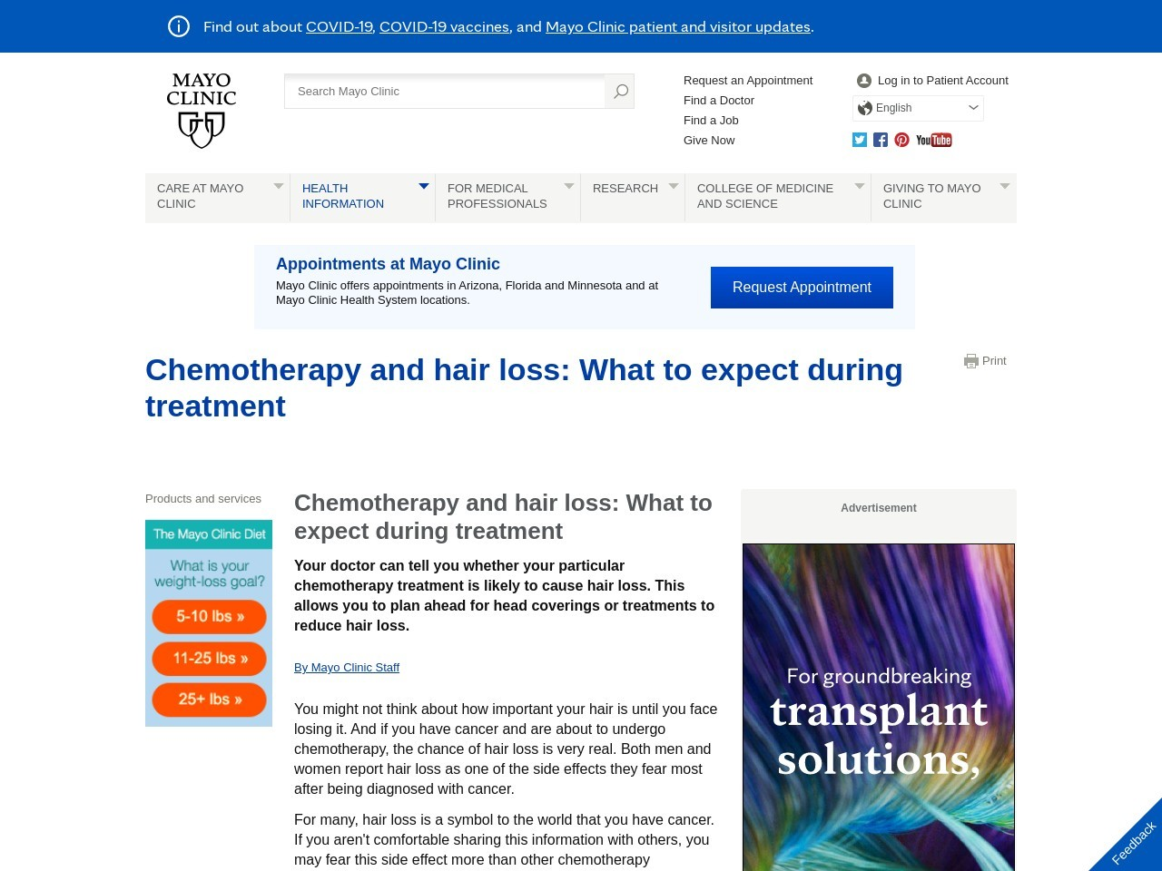 The emotions of hair loss during cancer treatment