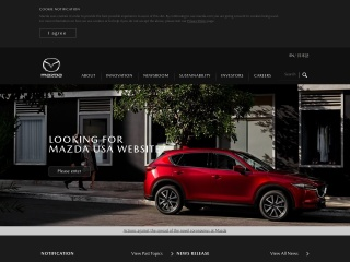 Screenshot der Website mazda.com
