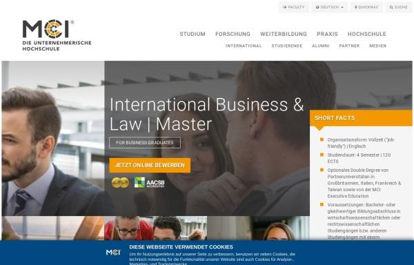 Vorschau von www.mci.edu, Master-Program International Business & Tax Law