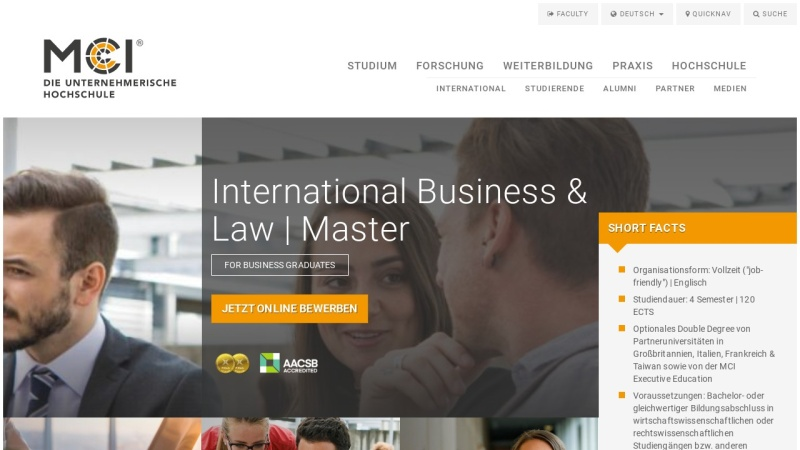 www.mci.edu Vorschau, Master-Program International Business & Tax Law