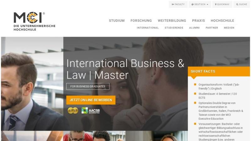 www.mci.edu Vorschau, Master-Program International Business & Tax Law