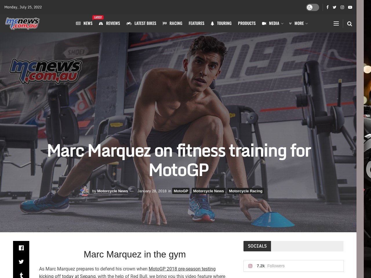 Marc Marquez on fitness training for MotoGP
