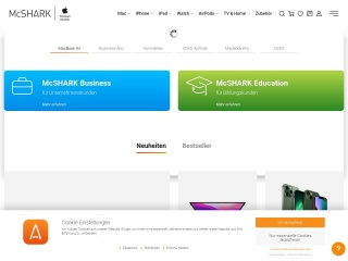 Screenshot der Website mcshark.at