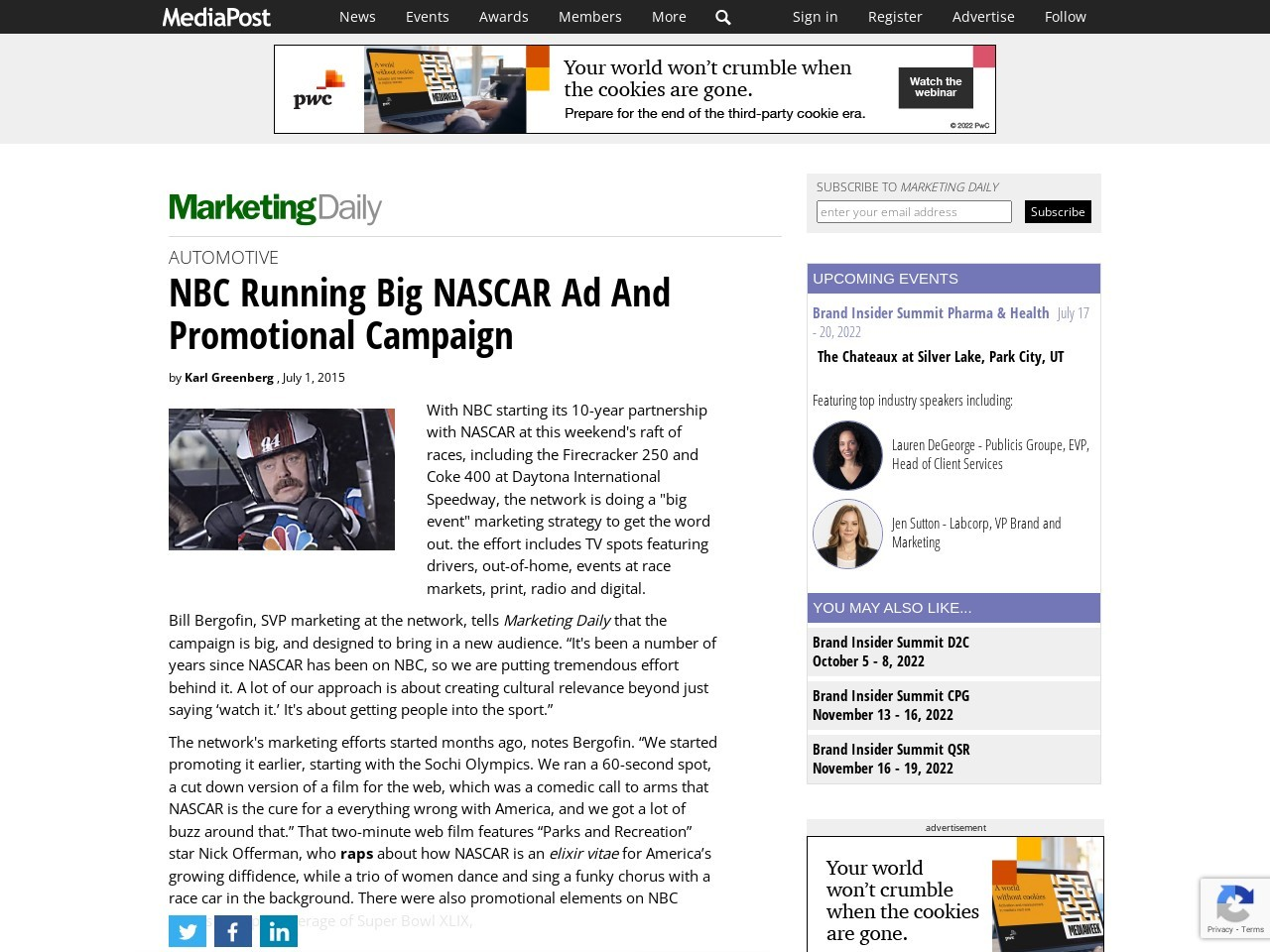 NBC Running Big NASCAR Ad And Promotional Campaign