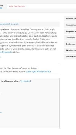 Vorschau der mobilen Webseite www.medicoconsult.de, Reizdarm - MedicoConsult