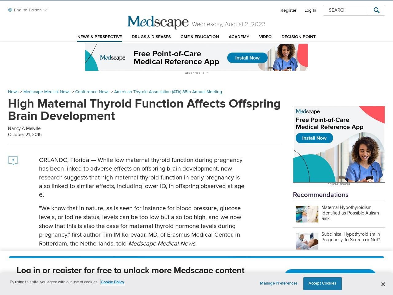 High Maternal Thyroid Function Affects Offspring Brain Development