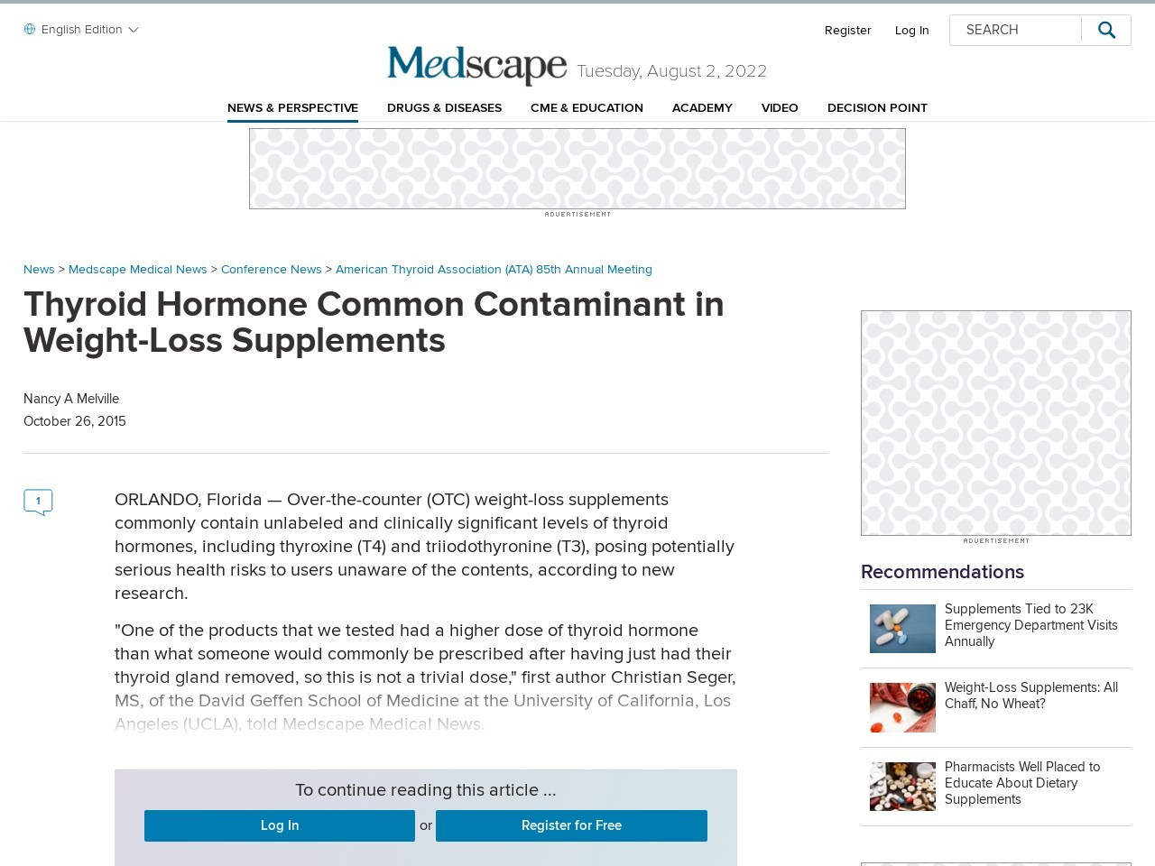 Thyroid Hormone Common Contaminant in Weight-Loss Supplements