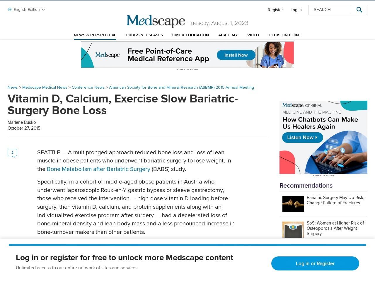 Vitamin D, Calcium, Exercise Slow Bariatric-Surgery Bone Loss