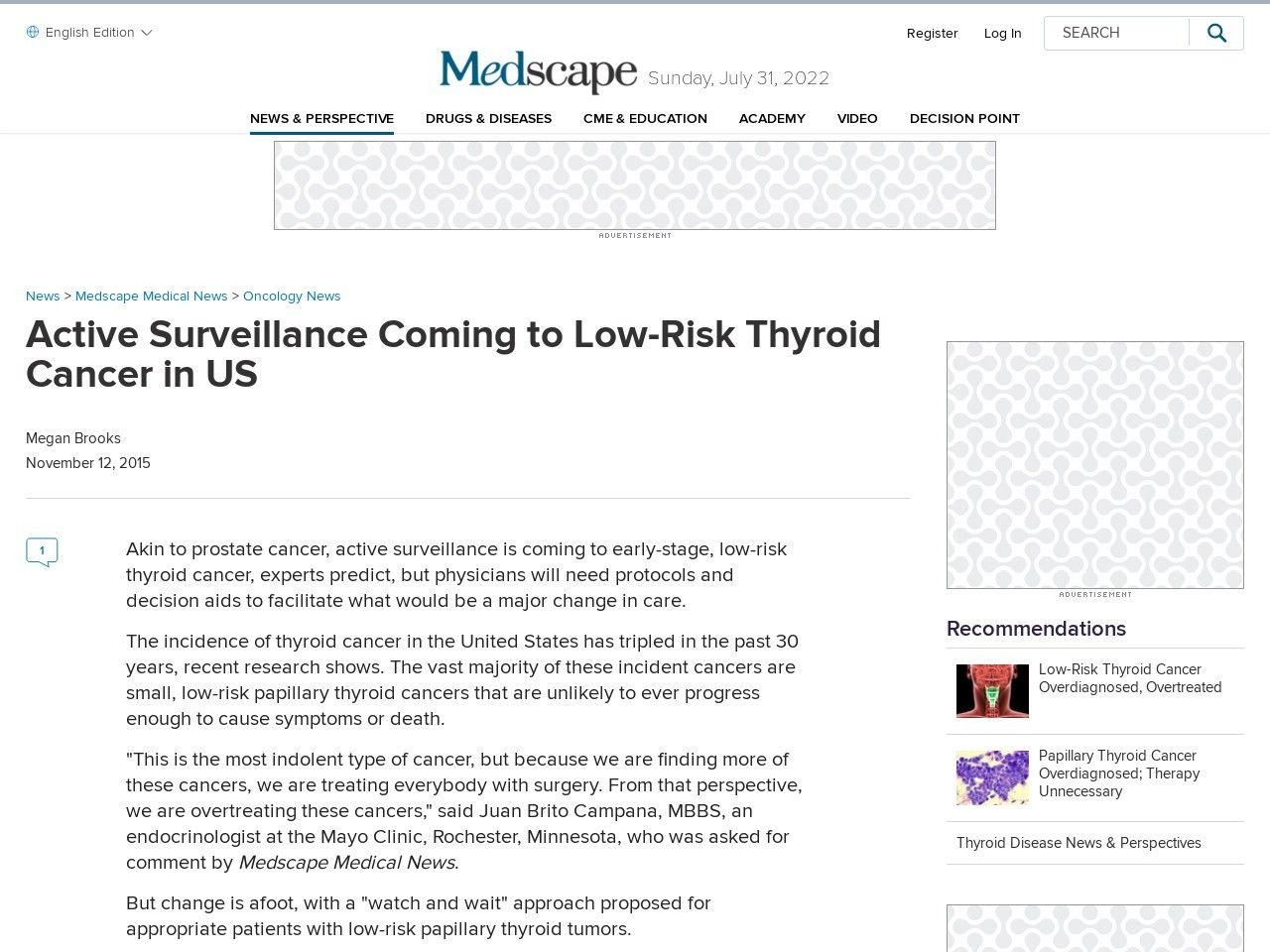 Active Surveillance Coming to Low-Risk Thyroid Cancer in US