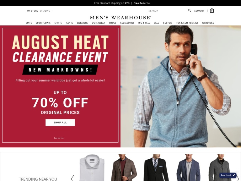 Mens Wearhouse screenshot