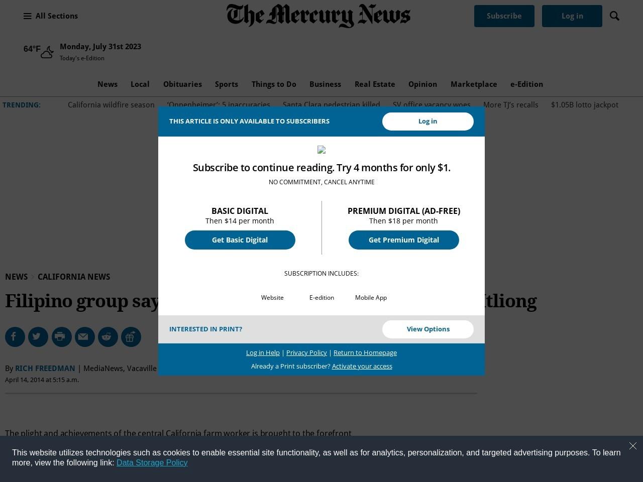 Filipino group says 'Chavez' falls fall short in crediting Itliong