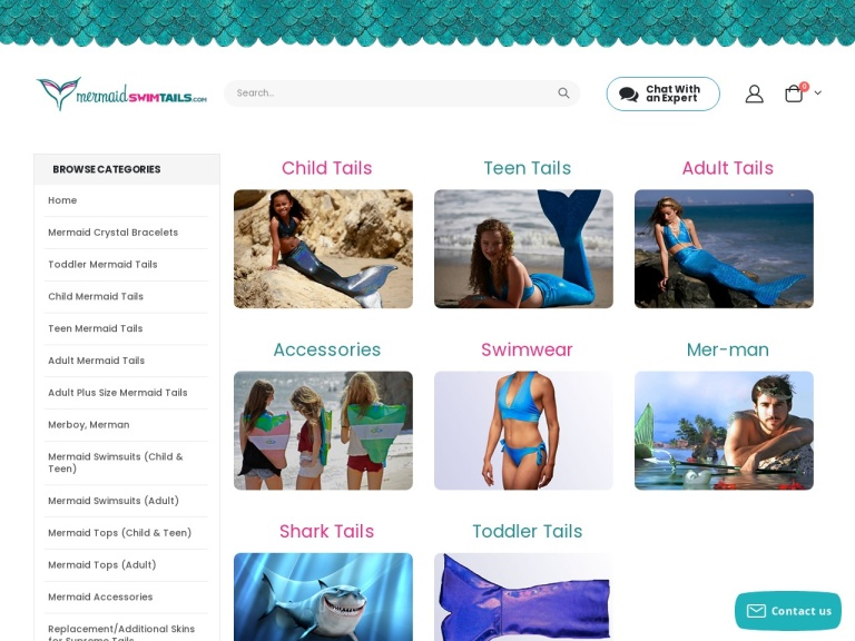 Mermaidswimtails.com screenshot