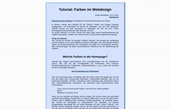 Vorschau von www.metacolor.de, Tutorial: Farben im Webdesign