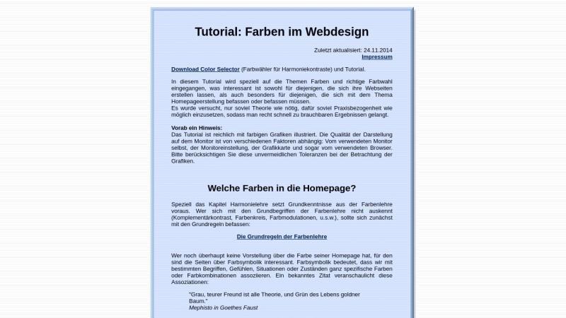 www.metacolor.de Vorschau, Tutorial: Farben im Webdesign
