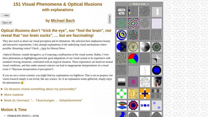 www.michaelbach.de Vorschau, Michael Bach - Eine Sammlung optischer Täuschungen und visueller Phänomene