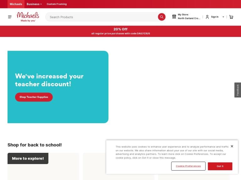 Michaels Stores screenshot