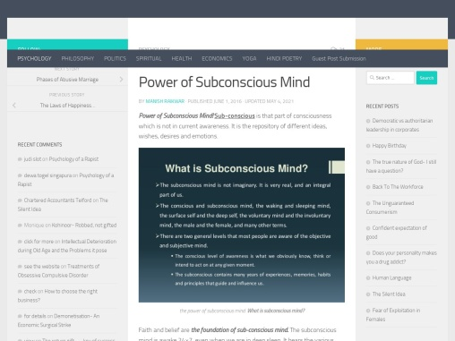 about power of subconscious mind