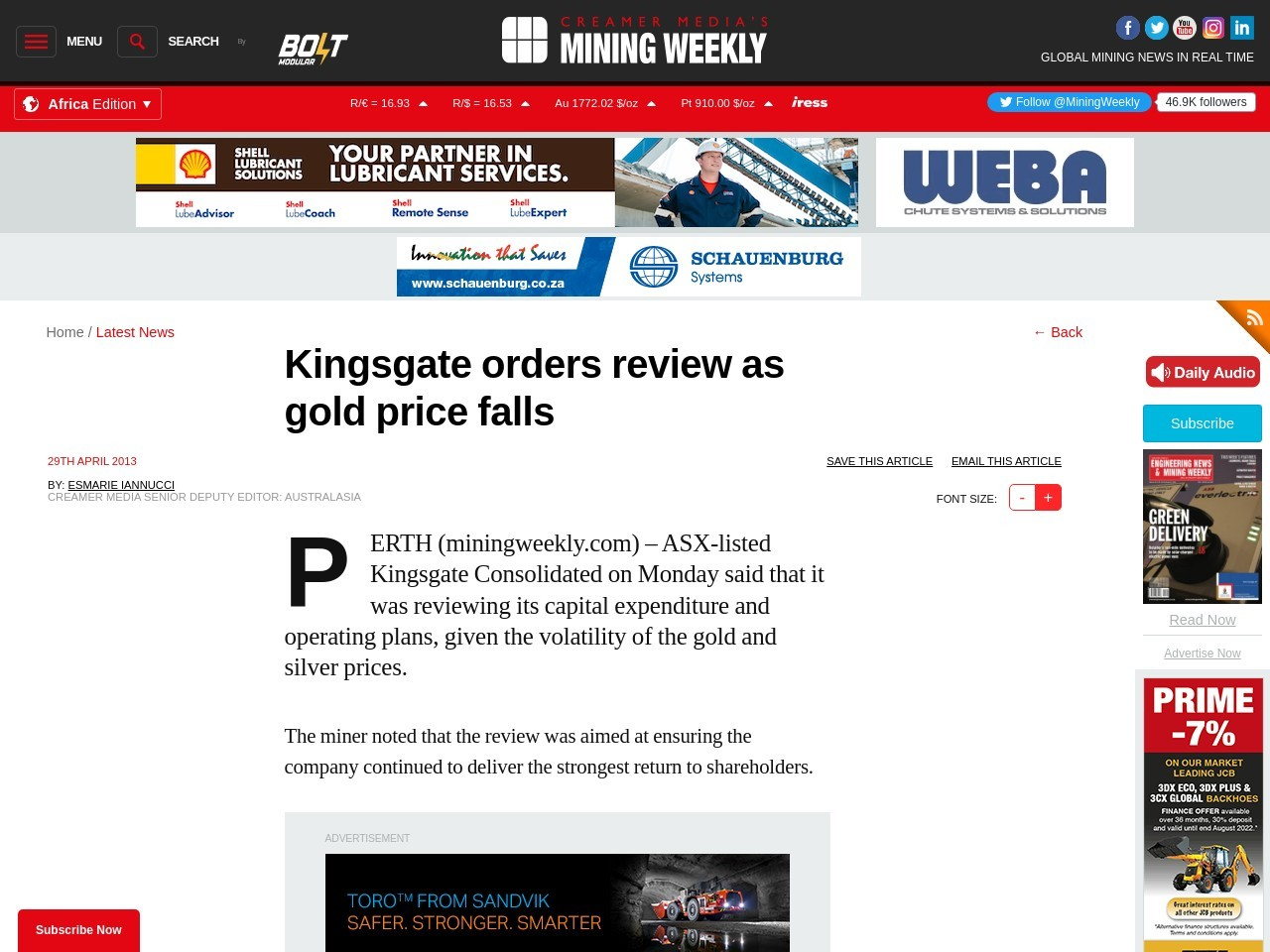 Kingsgate orders review as gold price falls – Mining Research
