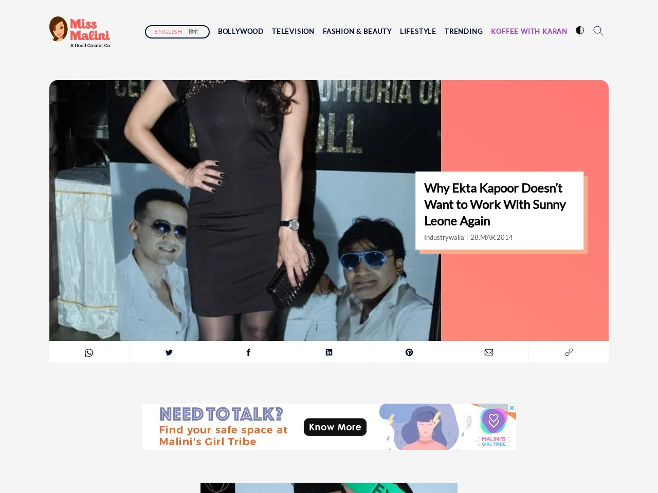 Why Ekta Kapoor Doesn't Want to Work With Sunny Leone Again …