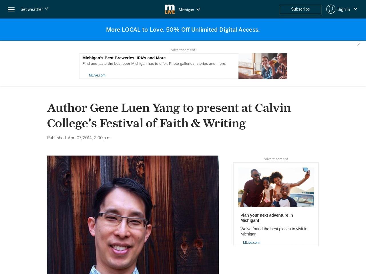 Author Gene Luen Yang to present at Calvin College's Festival of Faith & Writing