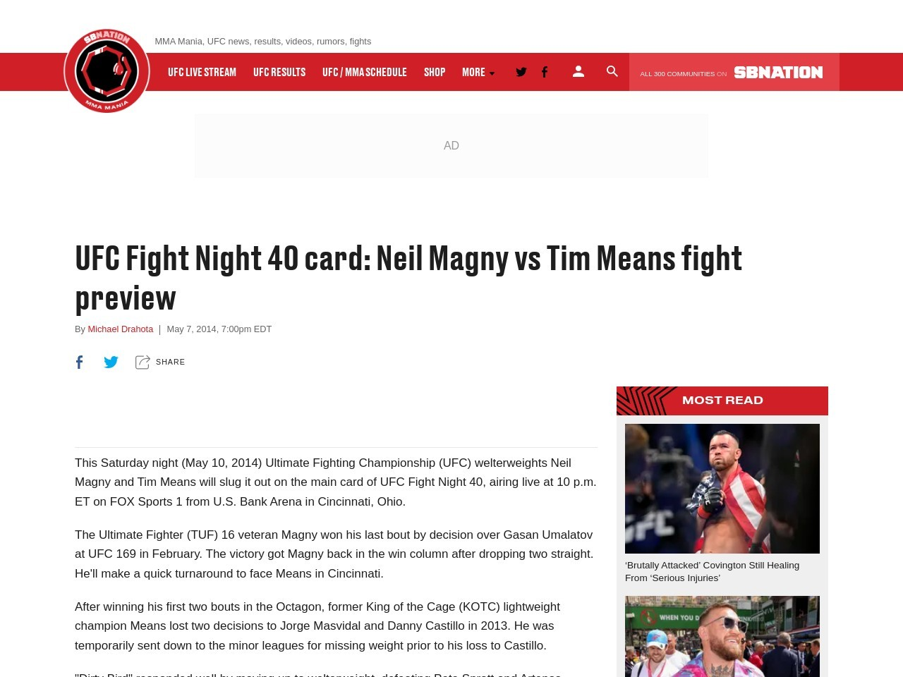 UFC Fight Night 40 card: Neil Magny vs Tim Means fight preview
