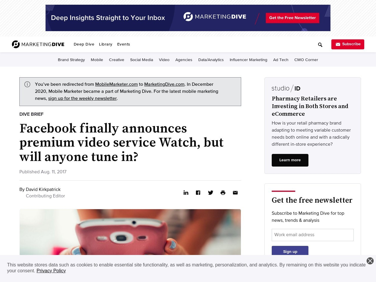 Facebook finally announces premium video service Watch, but will anyone tune in?