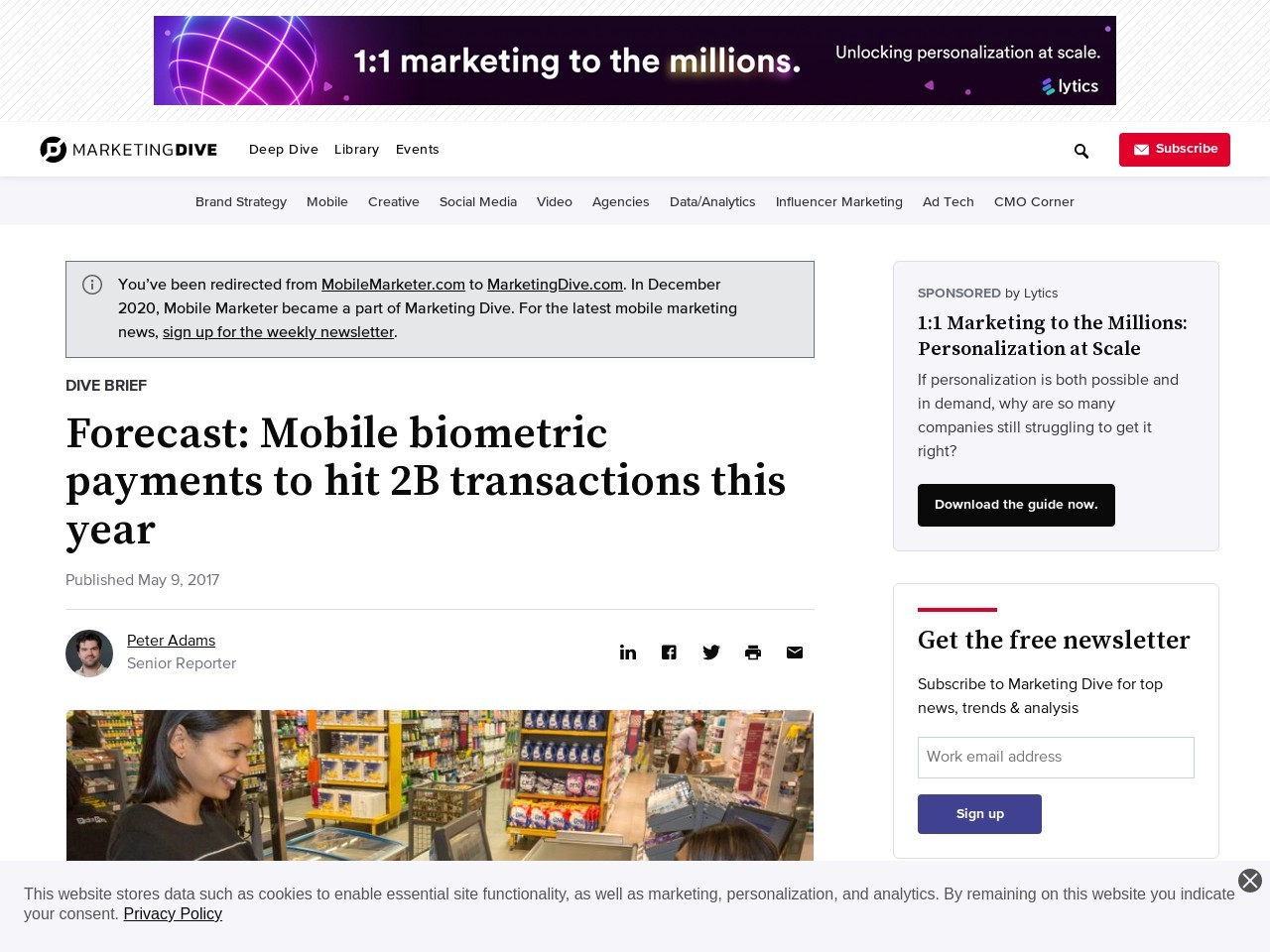 Forecast: Mobile biometric payments to hit 2B this year