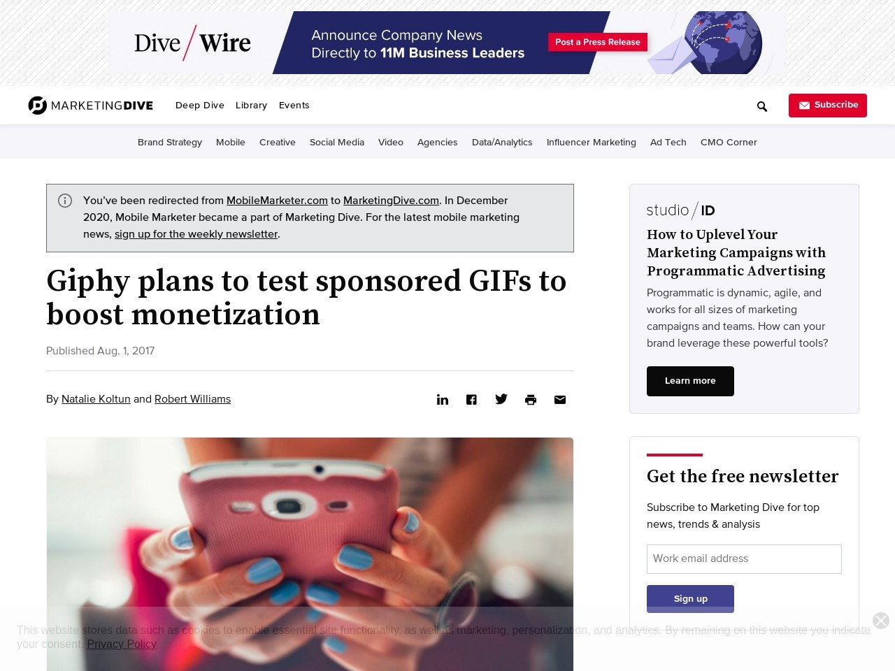 Giphy plans to test sponsored GIFs to boost monetization