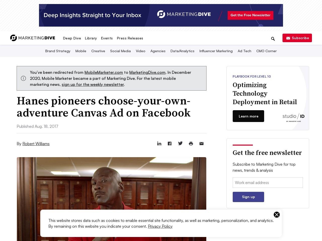 Hanes pioneers choose-your-own-adventure Canvas Ad on Facebook