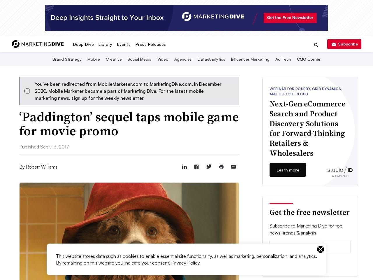 'Paddington' sequel taps mobile game for movie promo