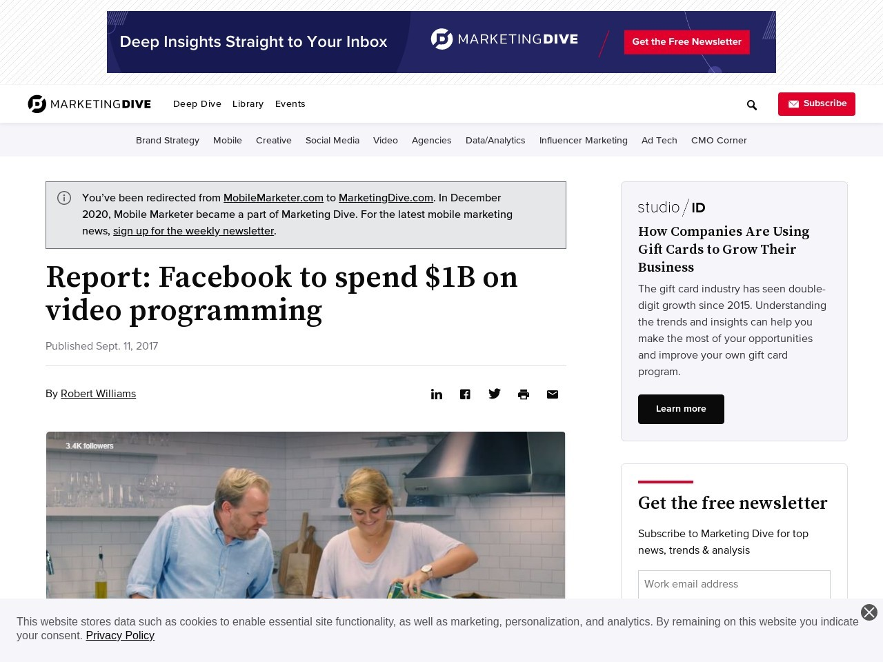 Report: Facebook to spend $1B on video programming