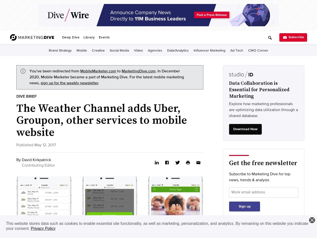 The Weather Channel adds Uber, Groupon, other services to mobile website