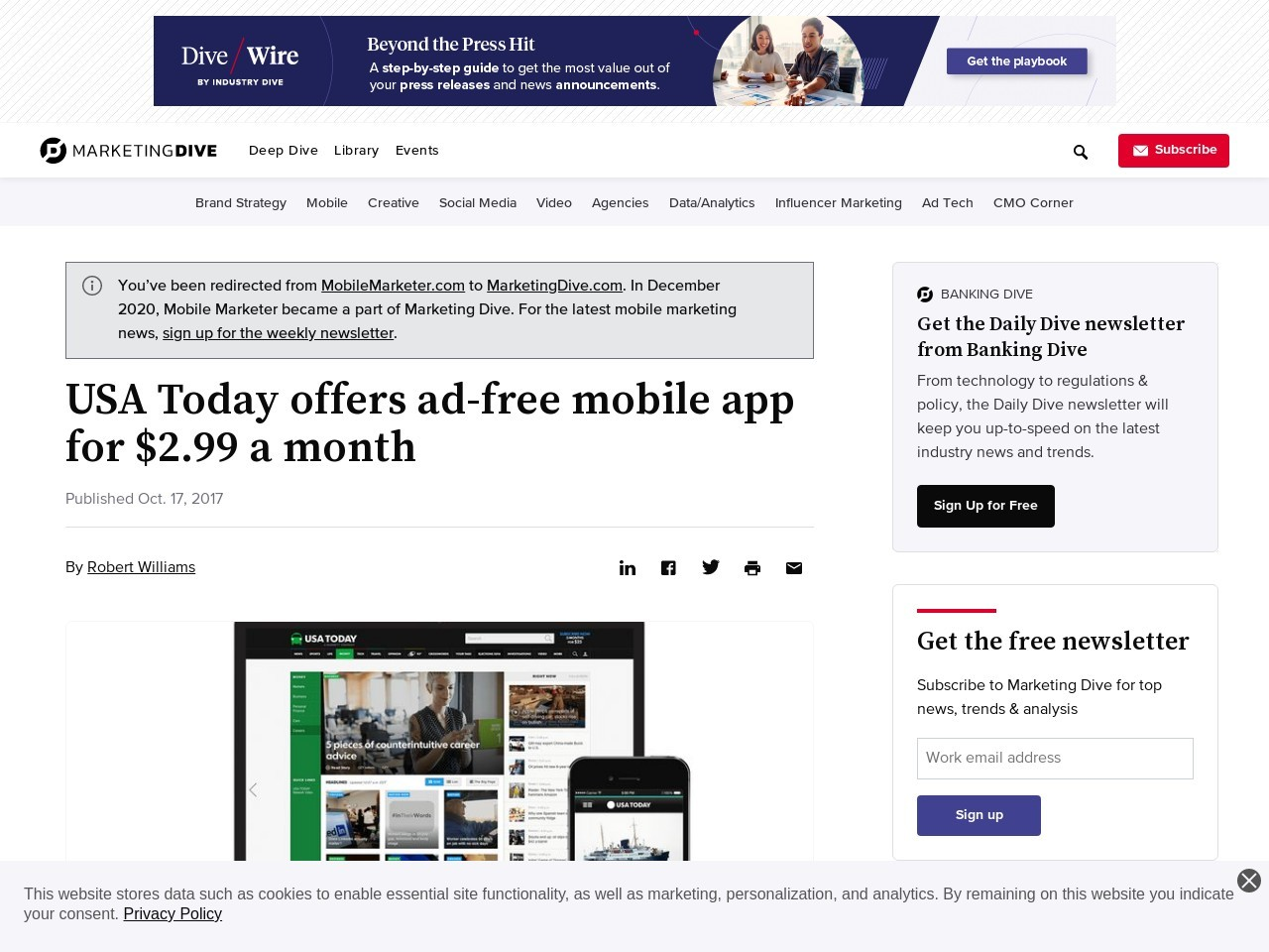 USA Today offers ad-free mobile app for $2.99 a month