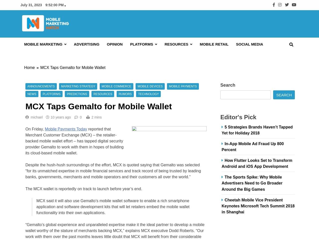 MCX Taps Gemalto for Mobile Wallet