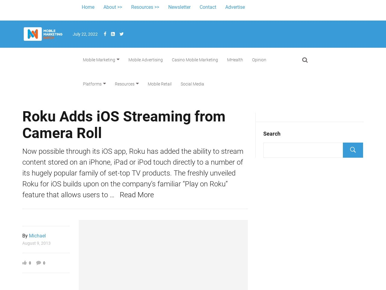 Roku Adds iOS Streaming from Camera Roll