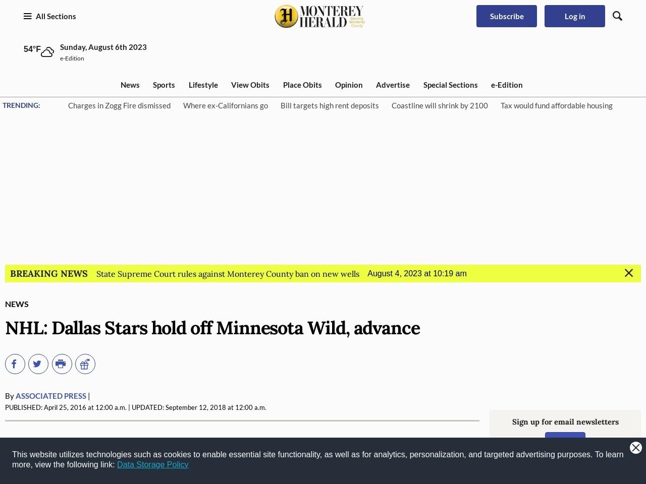 NHL: Dallas Stars hold off Minnesota Wild, advance