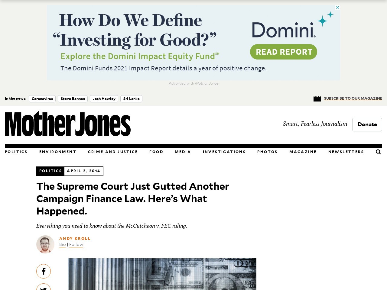 The Supreme Court Just Gutted Another Campaign Finance ...