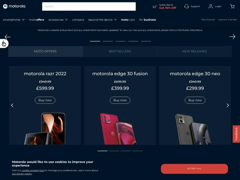Motorola Uk screenshot