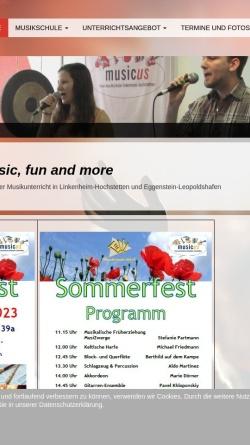 Vorschau der mobilen Webseite www.musikschule-musicus.de, Musicus, freie Musikschule Linkenheim-Hochstetten